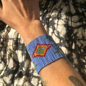 Blue beaded thick cuff/bracelet